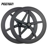 carbon five spoke starfish track wheel set integrated 5 spoke wheels carbone bike road wheels racing/training triathlon bicycles