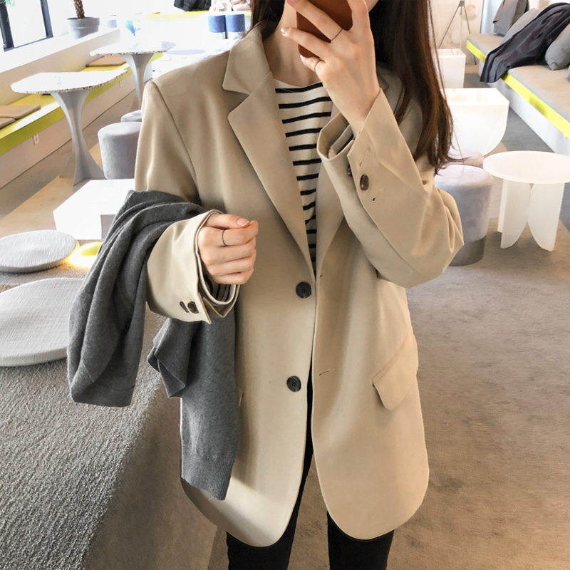 LANMREM 2020 Autumn New Casual Fashion Women Loose Plus Temperament Solid Color Single-breasted Blazer TC782