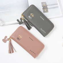 Women Long Clutch Wallet Phone Pocket Credit Card Holder Female Purse Large Lady Bag Tassels Large Capacity Zipper lady clutch large capacity forever young wallet long simple women shoulder crossbody bag handbags card holder birthday bags