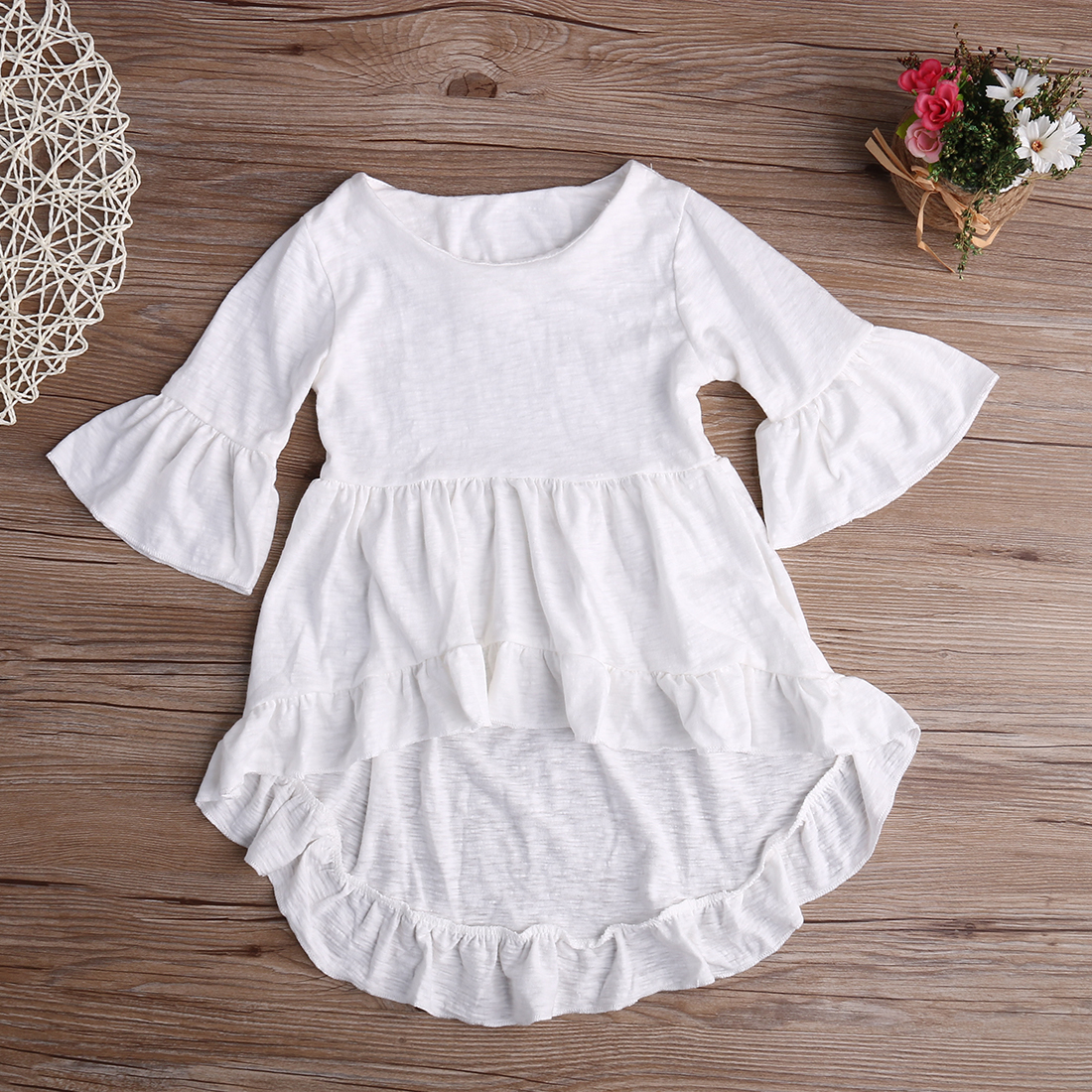 2016 Fancy Baby Girls Dress Frills Flare Sleeve Tops Shirt