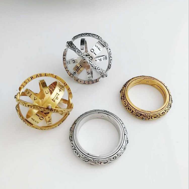 ZHOUYANG จักรวาลดาราศาสตร์ Shaped Ball แหวนสำหรับผู้ชายผู้หญิงป้าย Zodiac 2 วิธีแหวนแฟชั่นอุปกรณ์เสริม KAR007