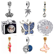 Btuamb Luxury Small Statement Camera Tree Bird Butterfly Crown Crystal Beads Fit Original Pandora Bracelet Necklace DIY Jewelry(China)