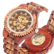 Full Wooden Watch for Men Top Luxury Automatic Mechanical Clock Male Wooden Strap Army Military Business Watch Retro Wristwatch