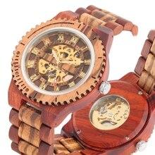 Reloj de madera para hombre, mecánico, automático, correa de madera, militar, de negocios, Retro