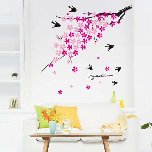 Konstruktiv Gel Aufkleber Plum Blume Süße Romantik Die Wohnzimmer Schmuck Innen Schlafzimmer Der Kinder Sofa Tv Einstellung Können Entfernen