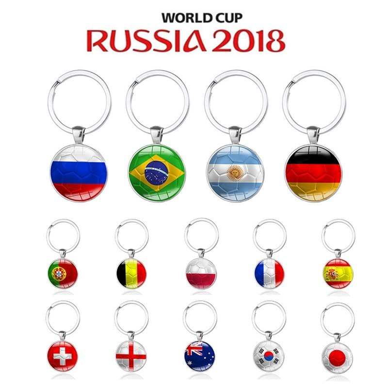 2018 Russia World Cup Hot Football Keychains Key Ring Brazil Germany England France Portugal Soccer Key Chains Souvenir ...