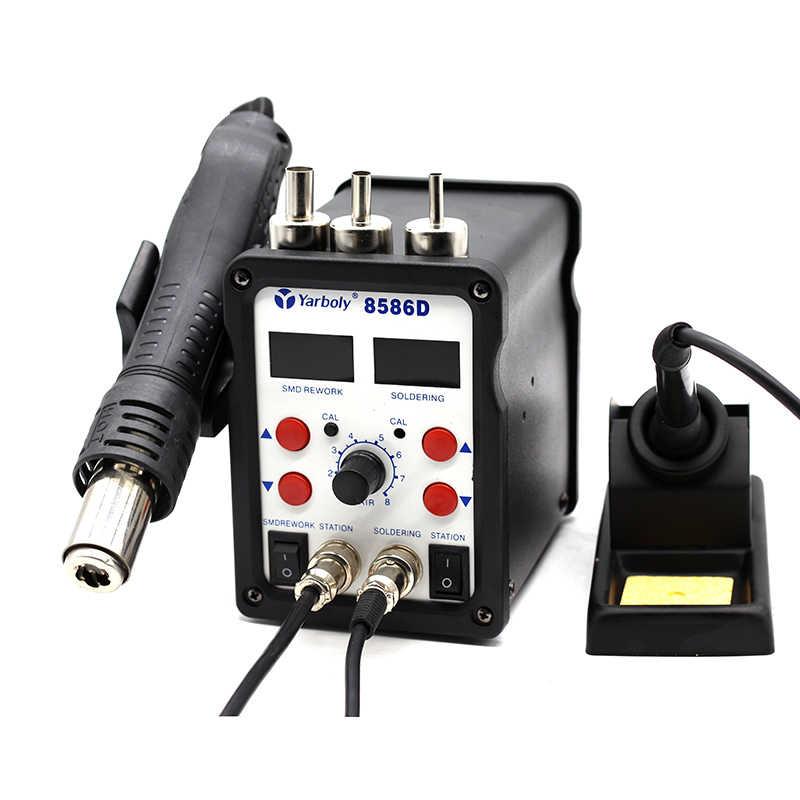 Yarboly 8586D паяльная станция двойной цифровой 2 в 1 SMD паяльная станция горячего воздуха Инструменты для ремонта мобильных телефонов, чем 8586 858D