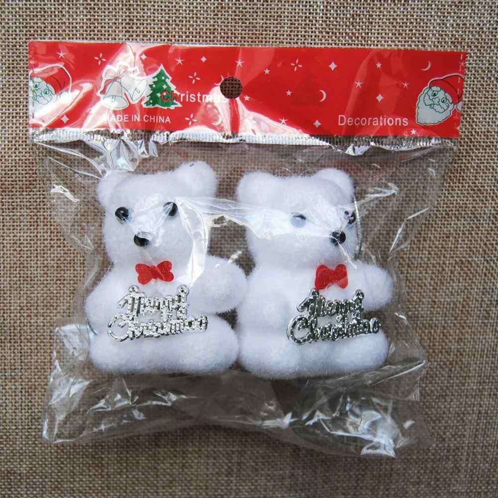 2 шт./пакет пена медведь Рождественская елка фестивальные декорации домашний декор детские игрушки Крытый Подвесной орнамент белая упаковка для подарка с медведем