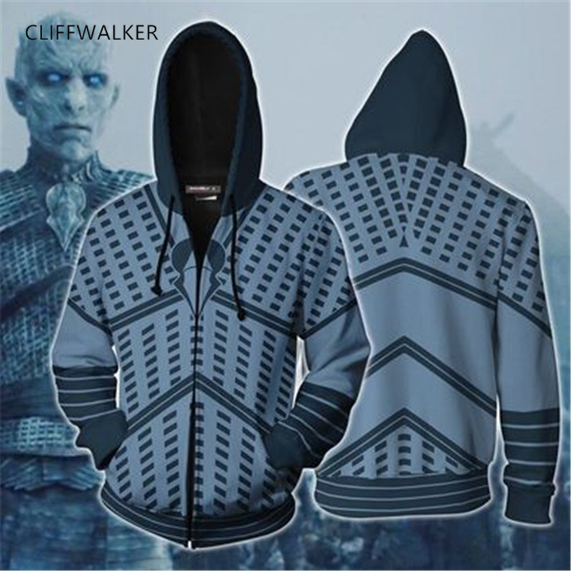 Dropshipping Game of Thrones Cosplay 3D Print The white walkers Zippers Hooded Sport Hip hop Hoodies Pullover Pocket Loose Tops