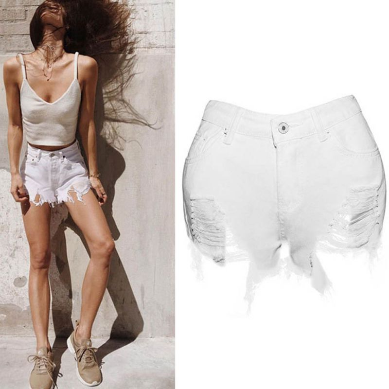 цена на 2017 Summer Shorts Women High Waist Denim Shorts Personality Female Tassel Slim Shorts Jeans Sexy Lace Short Feminino