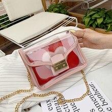 Worlds Brand Women Messenger Small New PVC Transparent Jelly handbag Girls Flap Shoulder Lock Sac Crossbody Mobile Purse