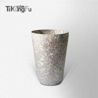Титановая Двухстенная Вакуумная сушилка Серебряная чашка для воды японский подарок пиво, кофе, чай Sake Tikungfu Горячая продажа Бесплатная дост