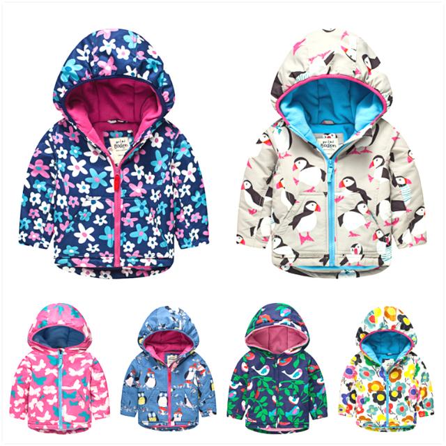 Mini boden prendas de vestir exteriores de ropa para niños wadded chaqueta de algodón acolchado de flores impresión buho de la historieta con capucha girls abrigo de invierno