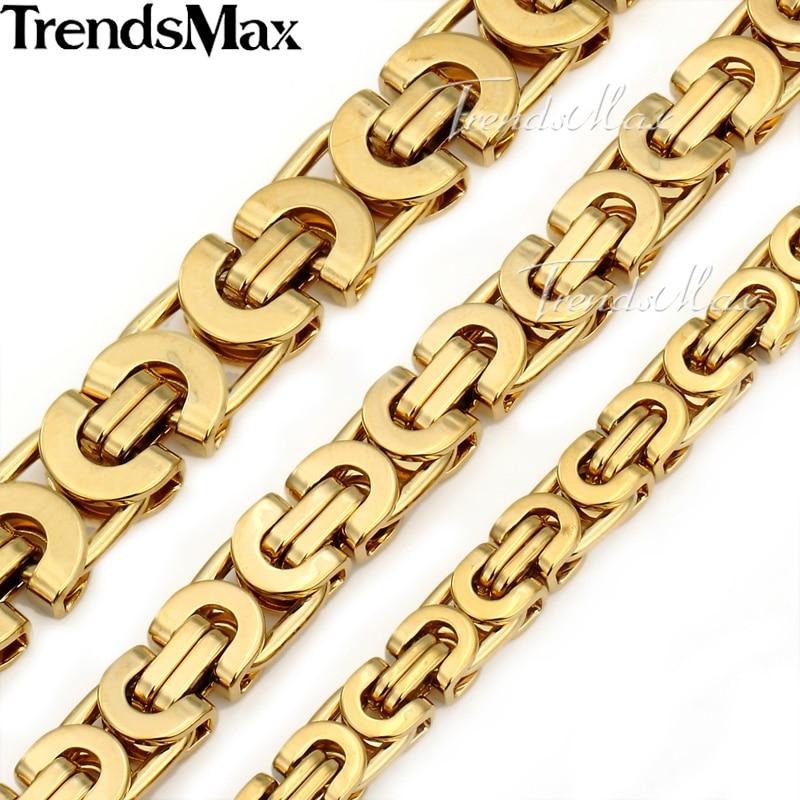 Prix pour Trendsmax Personnalisé N'importe Quelle Longueur Or Couleur Byzantin Acier Inoxydable Collier Garçons Hommes Chaîne Collier Mode Bijoux KNW47