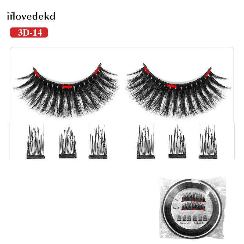 iflovedekd Magnetic Eyelashes 3D False Eyelashes Natural Long Thick 3 Magnets Lashes 18 Stytles in False Eyelashes from Beauty Health