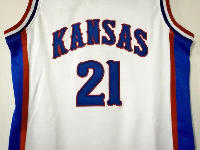 e288428f3 ... shopping horlohawk 21 joel embiid jersey kansas jayhawks ku college  stitched white throwback basketball shirts in