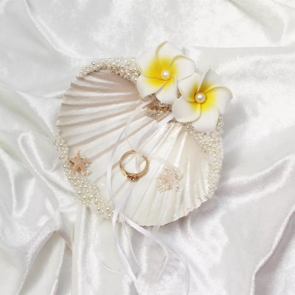 1pcs Marin shell pearl Photo props engagement double rings holder beach theme wedding style ring pillow1pcs Marin shell pearl Photo props engagement double rings holder beach theme wedding style ring pillow