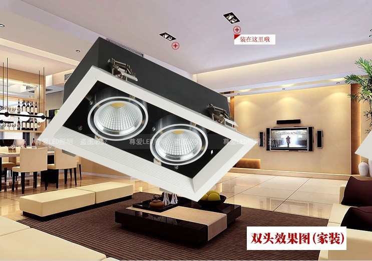 6 pcs/lot led cob lampe 24 w led haricot pot lampe double curseur 360 réglable 24 w led cdownlight grille lampe AC 85-265 V