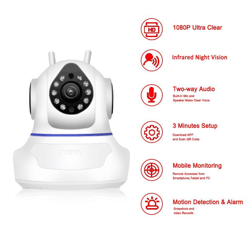Cámara IP P 1080 p WiFi cámara de vigilancia del hogar cámara de red inalámbrica Wifi visión nocturna CCTV Cámara bebé Monitor 1920*1080