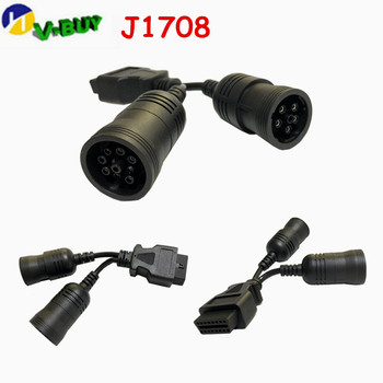 10pcs diagnostic-tool OBD2 Interface truck Y-cable OBD2 16Pin Female to Female 6pin SAE J1939 and SAE J1708 9pin  Female