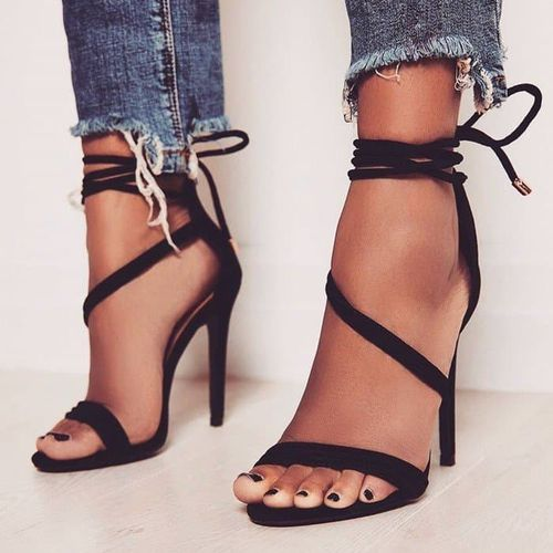 Sandals Shoe-Size Open-Toe High-Heels Black Sexy-Design Women Thin New 33-43 Big Dress
