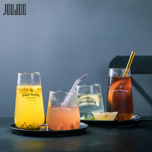 JOUDOO Brief High&Short Glass Water Cup Creative Letter Round Mug Europe Home Office Milk Breakfast Drinkware 35