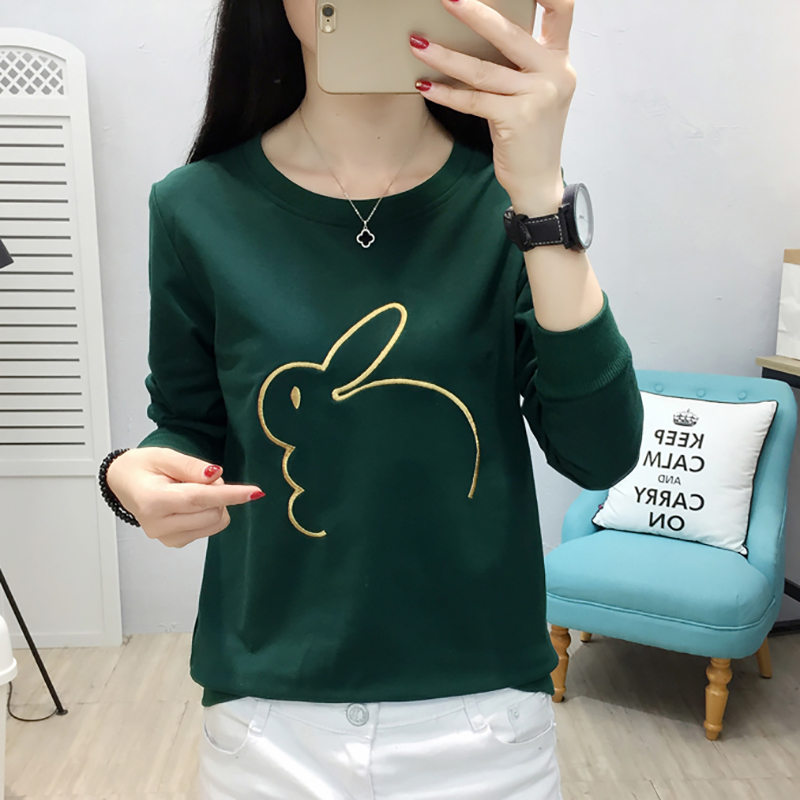 shintimes Long Sleeve T Shirt Women Embroidery Cartoon 2019 Autumn Tshirt For Ladies T Shirt Female Casual Clothes Tshirt Femme in T Shirts from Women 39 s Clothing