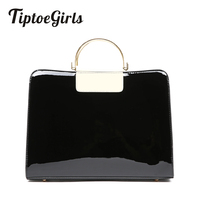 Patent Leather Fashion Handbags Metal Handle Women Bag Winter Simple Casual Messenger Bag Personalized Shoulder Bag