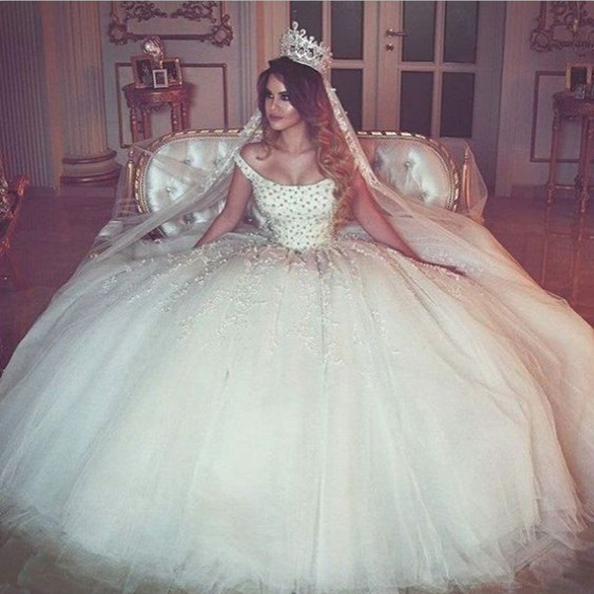 New Vintage Princess Ball Gown Wedding Dresses Beaded: Trouwjurk Vintage Beaded Wedding Dress Princess 2017