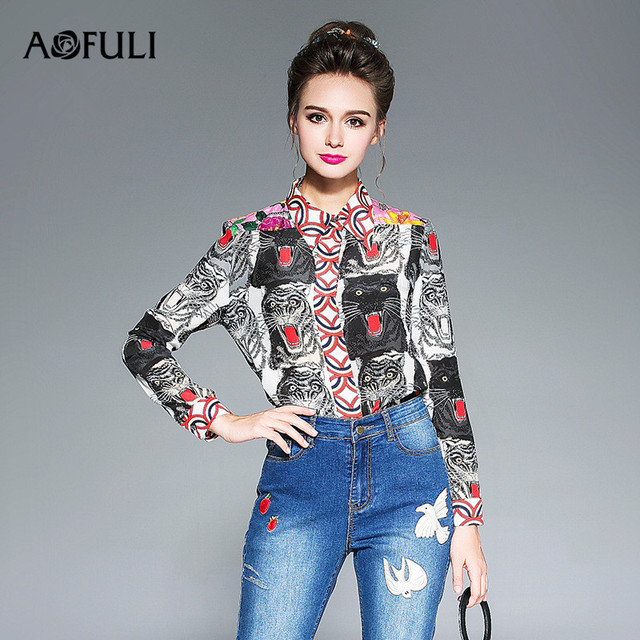 2c7d76038b6a AOFULI L- 3XL 4XL 5XL Plus size Women Long sleeve Blouse Tops 2017 New  Fashion Autumn Office Ladies Animal Print Shirt