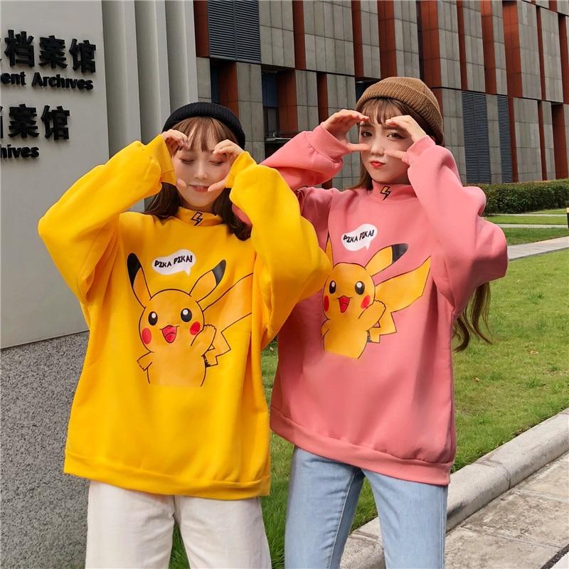 Anime Pokemon Cosplay Costume Women's Hoodie High-necked Pikachu Hoodie Harajuku Fashion Jacket Eevee Couple Pullover