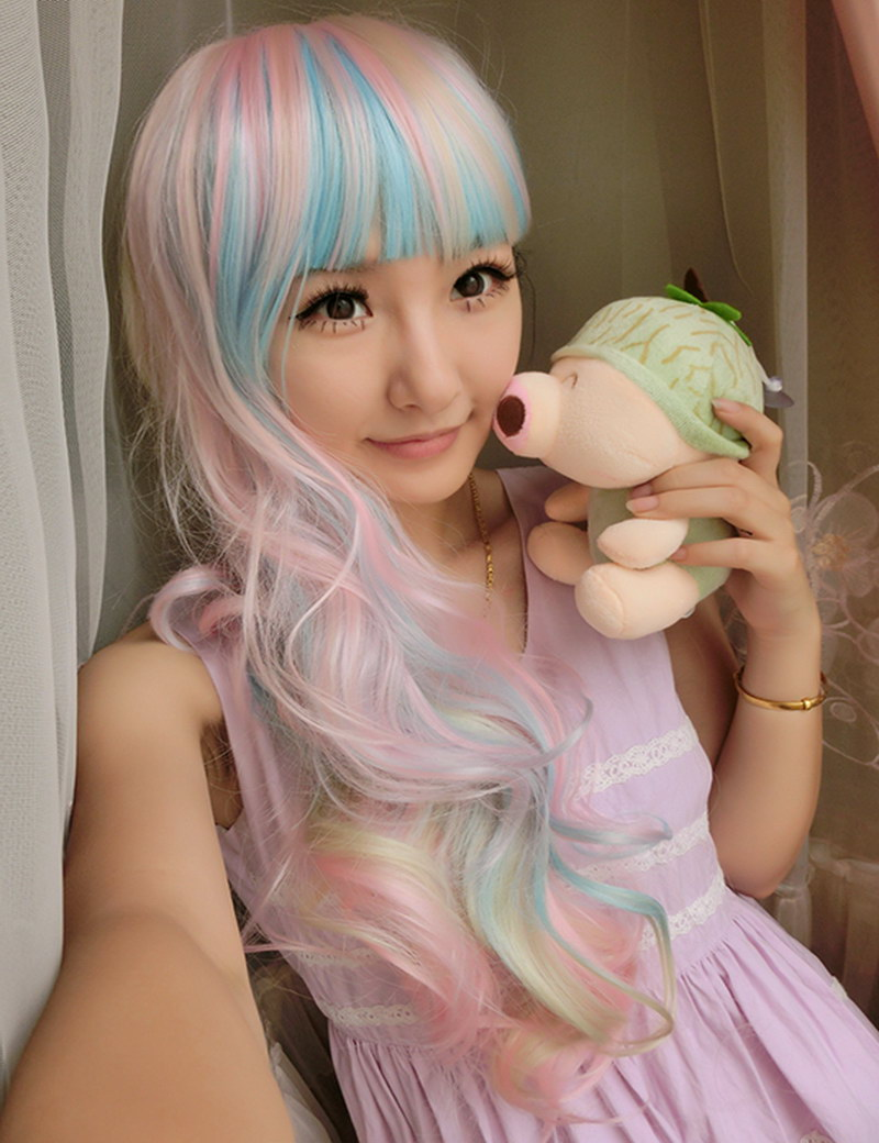 highlights rainbow 26inch anime cosplay long wavy harajuku lolita