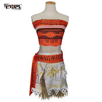 Anime Moana costume Animation cosplay suit dress for kids adult girls halloween clothing summer dress