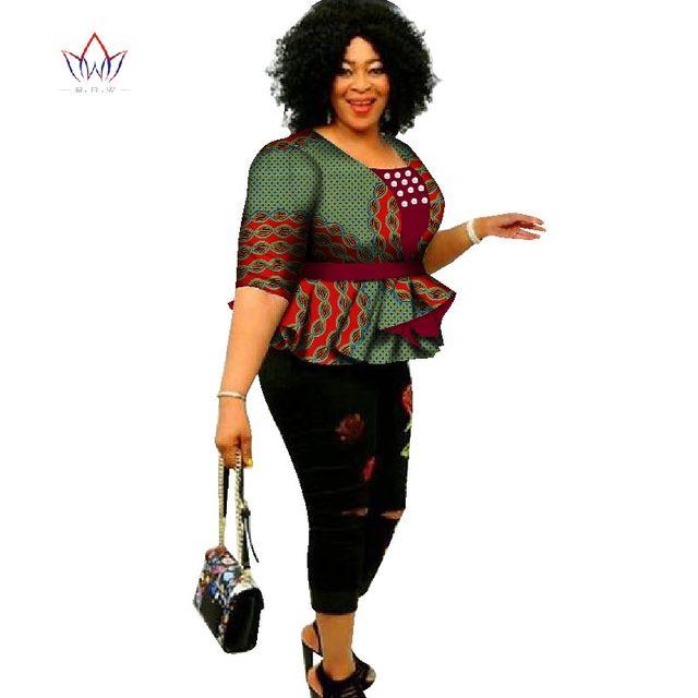 2018 Dashiki African Print Tops Shirt for Women Africa