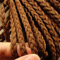 Free Ship 100 meters 6mm*1.5mm  Brown  Braided Korean Cashmere Flat Soft Faux Suede leather cord