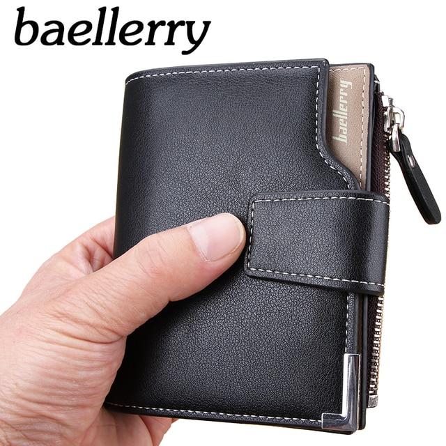 d8f5cc77f Nueva cartera Baellerry marca corto hombres carteras PU cuero Hombre  monedero tarjeta titular de la cartera