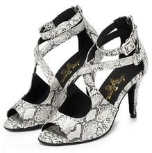 Wholesale Ladies White Snakeskin  Ballroom Dancing Shoes Latin SALSA Shoes for women Tango Shoes