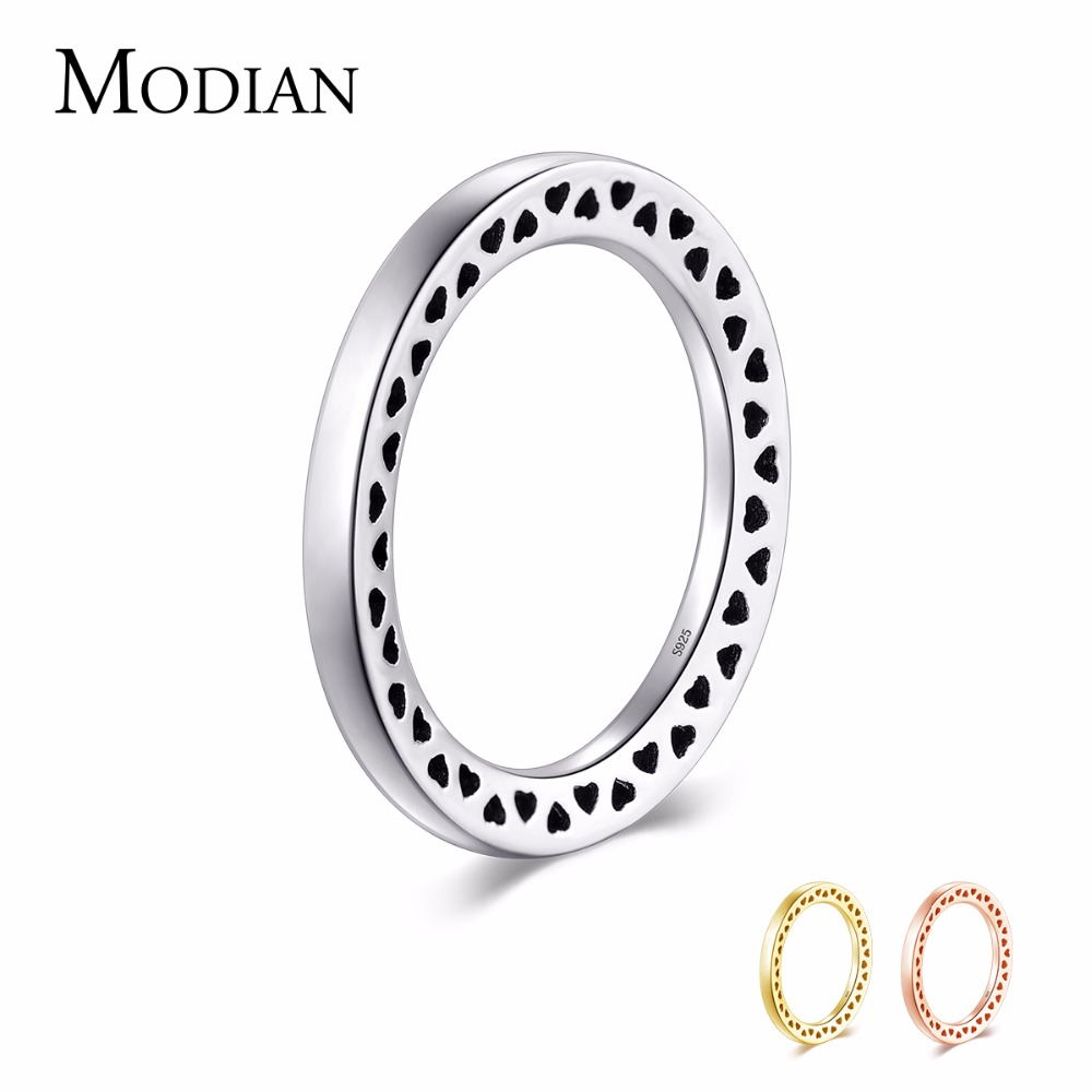Modian 3 Color Genuine 925 Sterling Silver Heart Rings Simple Stackable Forever Wedding Finger Jewelry For Women Engagement Gfit