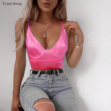 Trancilong Sexy Sleeveless Camisole Deep V-neck Triangle Jumpsuit Red Green Gold Beach Wear Womens
