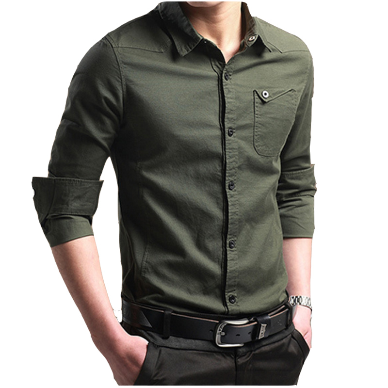 Brand 2018 Fashion Male Shirt Long-Sleeves Tops Slim Casual Solid Color Mens Dress Shirts Business Men Shirt Large Size 4XL