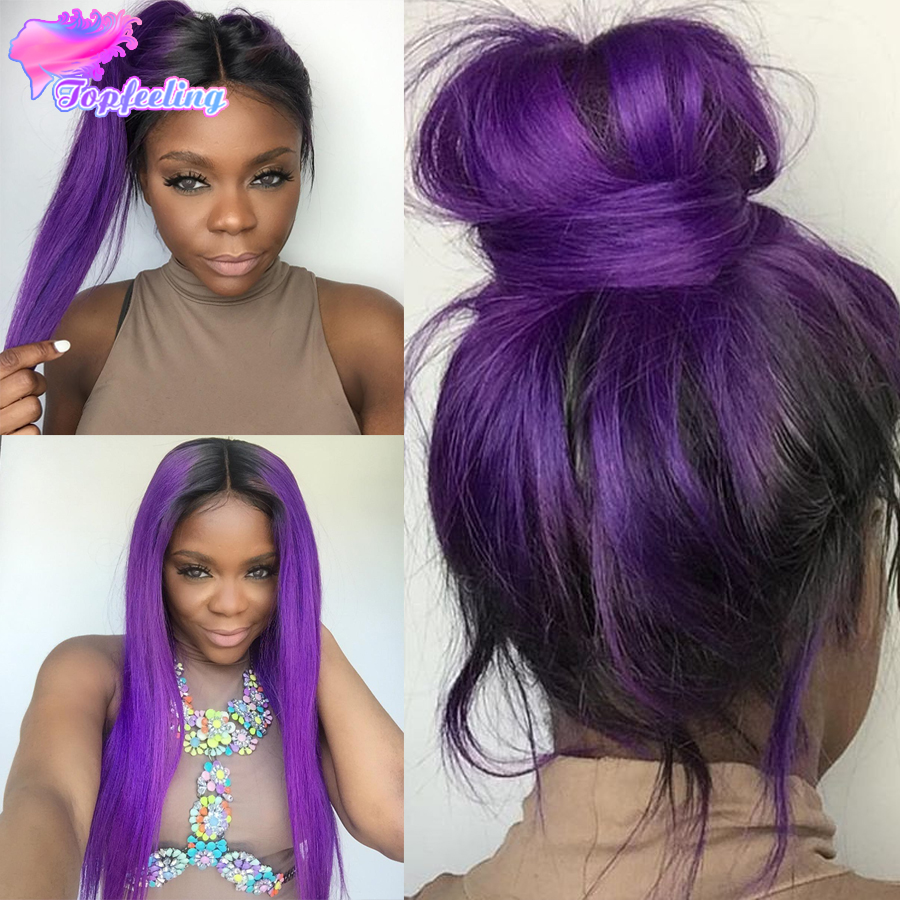 7a Brazilian Purple Ombre Wig Full Lace Human Hair Wigs For Black Women Silky Straight Front With Baby In