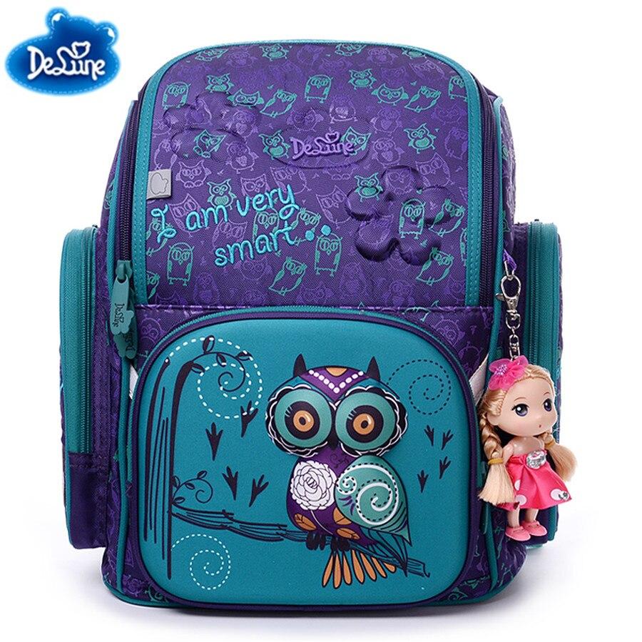 Delune Backpacks School Bags for Girls 3D Bear Print SchoolBag Waterproof Children Orthopedic Backpack Mochila Escolar Birthday unme children schoolbag for grade 1 3 girls backpack waterproof leather light for boy