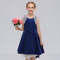 Western Dziewczyna sukienki Proste Koronki Odzież dziecięca Nieregularne L-572 Ogonków Suknię Ślubną