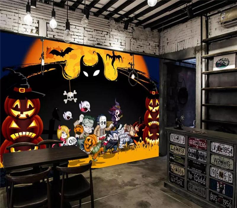 Creative mystery horror Halloween haunted house KTV background wall professional production mural custom photo wallpaper