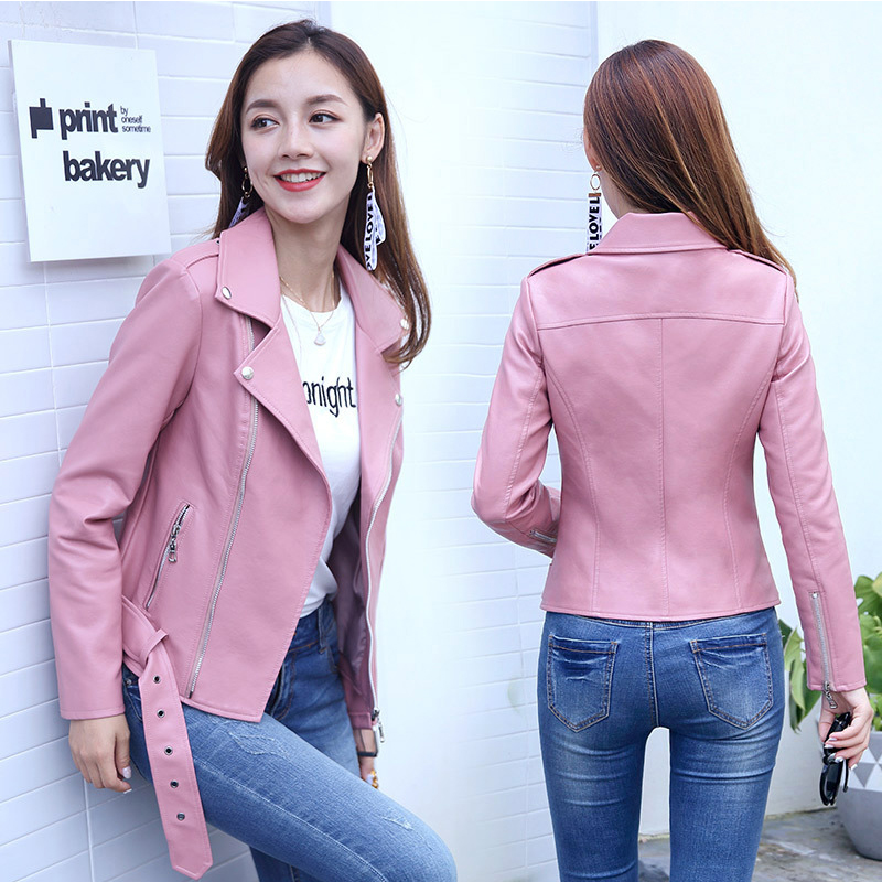 0107ef50f1e 2018 Motorcycle PU Leather Jacket Women Autumn Winter Fashion Coat  Outerwear Female Plus Size Pink Soft Short Jackets chifave-in Leather    Suede from ...