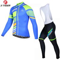 X TIGER Thermal Fleece Winter Cycling Jersey Set Long Sleeve Outdoor Sports Bycle Cycling Clothing Suit