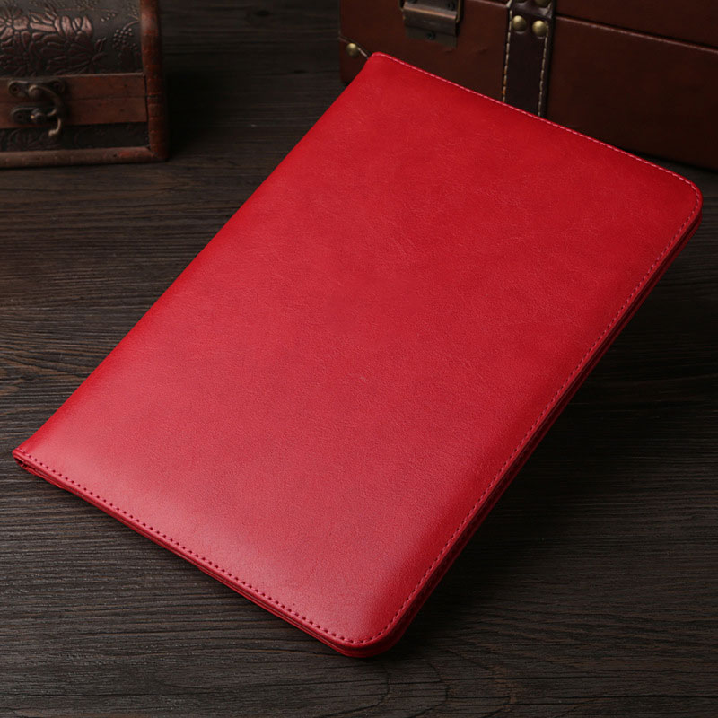 Red Leather retro style smart portfolio case for iPad 2018 9.7 inch (A1893, A1954)
