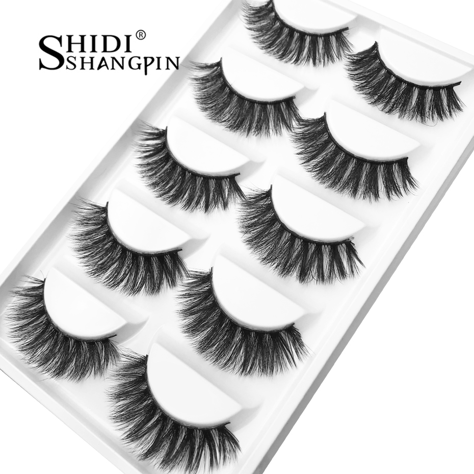 SHIDISHANGPING 3d mink eyelashes handmade 5 pairs eyelashes natural long false lashes 1 box makeup volume mink cilios g800