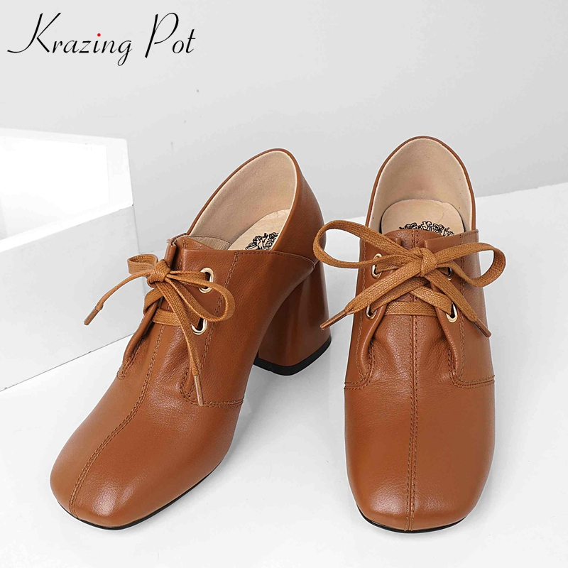 Krazing pot popular genuine leather thick high heels rivets lace up square toe solid color Spring