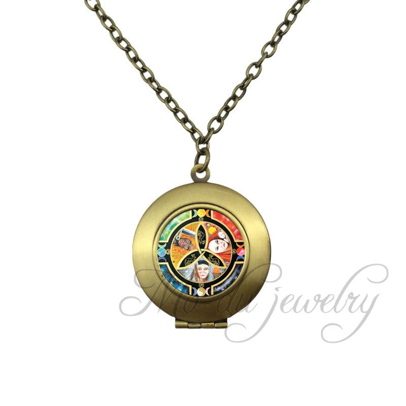 Moon Goddess Wiccan Necklace Glass Dome Locket Pendant Maiden Mother